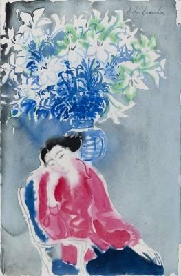 André Brasilier, méditation, 1995, aquarelle