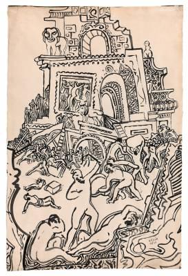 Béla Kadar, composition, encre, vente aux enchères