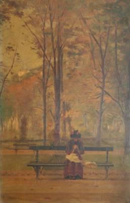Arsène Chabanian, jeune femme sur un banc