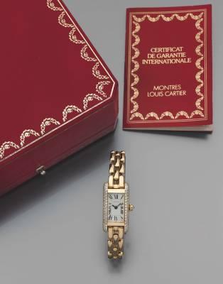 Cartier,Tank Américaine mini,  montre or et diamants