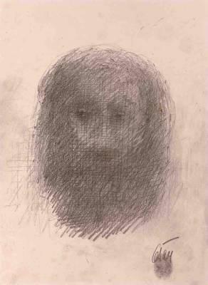 César, autoportrait, dessin