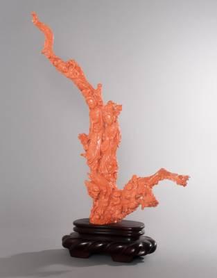 Sujet en corail rouge, art asiatique