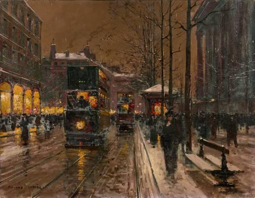 Edouard Cortes, place de la Madeleine, un soir de neige, tableau