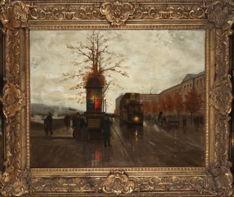 Edouard Cortes,  Le Quai du Louvre vers le pont des Art, tableau