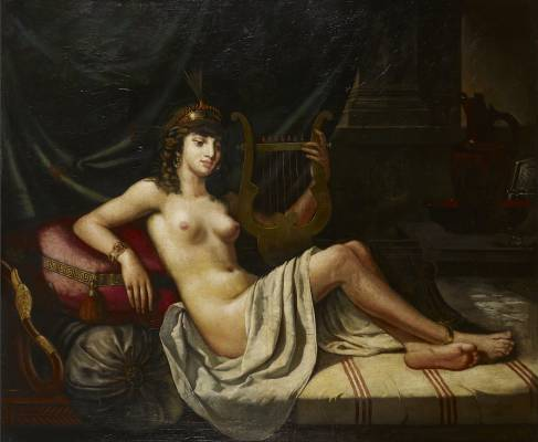 Edouard Debat Ponsan, Femme à la Lyre, tableau