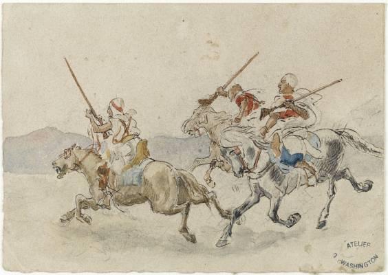 Georges Washington, trois cavaliers, dessin