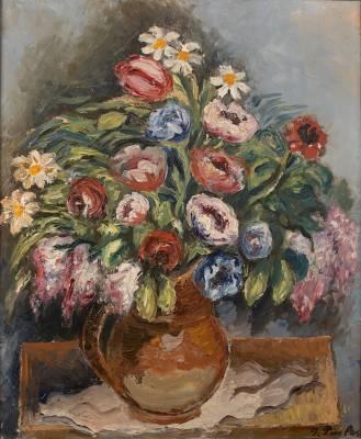 Isaac Pailes, bouquet fleuri, tableau