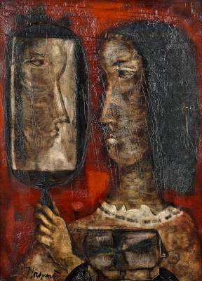 James Coignard, femme au miroir, tableau