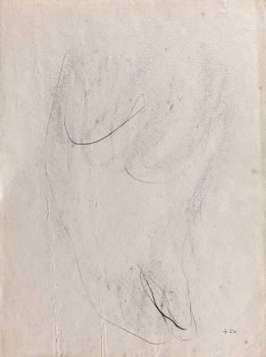Jean Fautrier, nu, dessin