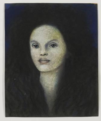 Léonor Fini, tête de femme, huile sur papier