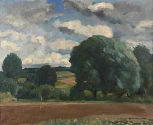 Louis Lallemand, paysage verdoyant, tableau