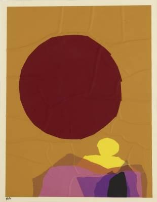 Louis Feito, composition, collage