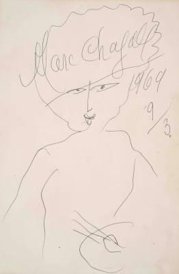 Marc Chagall, autoportrait, dessin