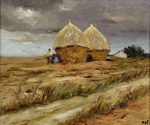 Marcel Dyf, les meules, huile sur toile