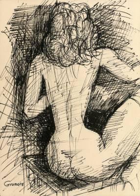 Marcel Gromaire, jeune femme assise de dos, dessin