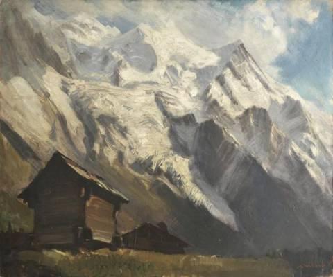 Marcel Wibault, chalets, montagnes enneigées, tableau