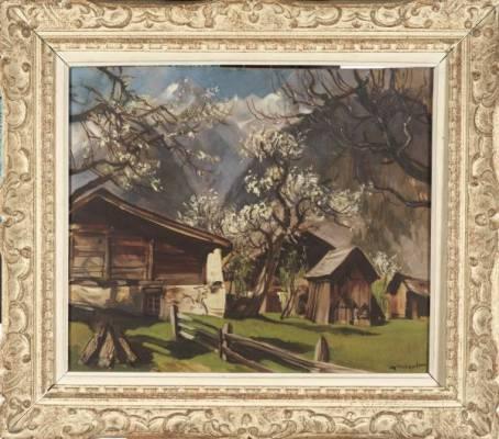 Marcel Wibault, chalets en été, tableau, vente aux enchères
