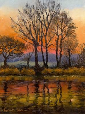 Paul Emile Pissarro, Soleil couchant sur L'Orne à Clécy , tableau