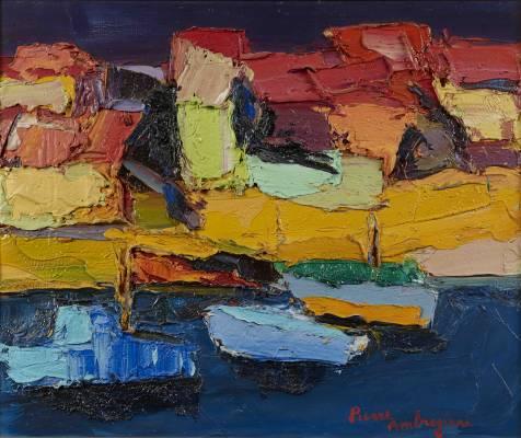 Pierre Ambrogiani, paysage portuaire, tableau