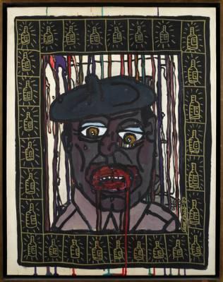 Robert Combas, l'homme au béret, acrylique