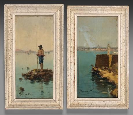 Vincent Manago, paire de tableaux
