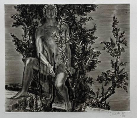 Albert Decaris, le poète, gravure