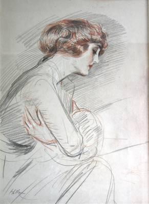 Paul-César Helleu, jeune femme pensive