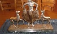 George Lavroff, jeune fille et cerfs, bronze