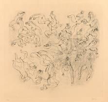 Jean Fautrier, étude de nus, estampe, vente aux enchères