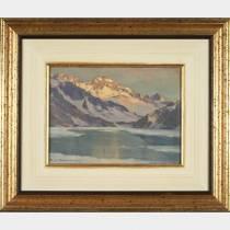 Charles CONTENCIN (1898-1955) - Lac Cottepens (Sept Laux), Huile sur isorel