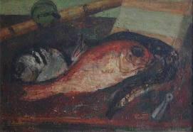 Eugène Baboulène, nature morte aux poissons, tableau