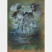 Jean Gaston MANTEL (1914-1995) - Jeunes femmes et cheval - Gouache sur papier