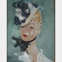 Jean Gabriel DOMERGUE (1889-1962)- Jeune femme à la voilette - Huile sur isorel