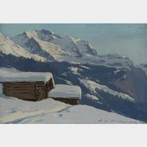Charles CONTENCIN (1898-1955) - Wengen en hiver - Huile sur carton