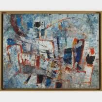 Jacques GERMAIN - Composition. Huile sur papier