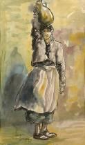Adolphe Feder, femme à la cruche, aquarelle
