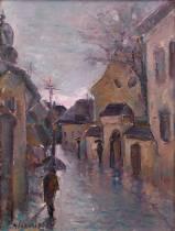 Adrian Ghenie, Pluie sous la rue de l'atelier monétaire, tableau