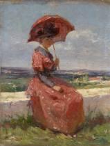 Adrien Tanoux, femme à l'ombrelle, tableau, vente aux enchères