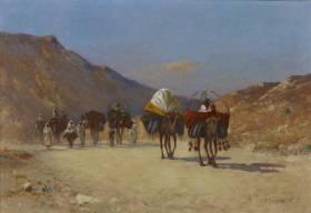 Alexis Delahogue, caravanes dans le désert, tableau
