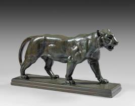 Antoine Louis Barye, tigre qui marche, bronze Barbedienne