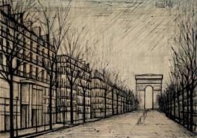 Bernard Buffet, les champs Elysées, sérigraphie sur coton