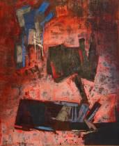 Francis Bott, composition 1966, gouache