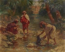 Arthur Bridgman, jeune filles au bord de l'oued