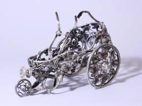 Christofle, charriot à bouteille, métal argenté
