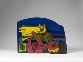 Corneille, femme, chat et poisson, sculpture