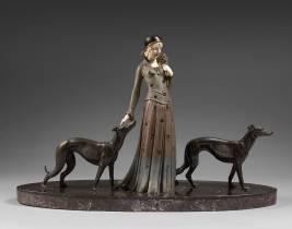 Demeter Chiparus, femme aux lévriers, sculpture