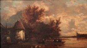 Victor Dupré, le bac sur la rivière, tableau