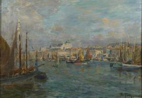 Edmond Petitjean, voiliers au port, tableau