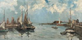 Fernand Herbo, bateaux au port,tableau