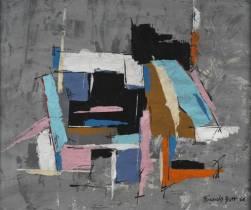 Francis Bott, composition, huile sur carton